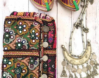 Vintage Handmade Banjara coin clutch shoulder purse,Ethnic Embroidered Fabric Tribal Bohemian hand embellished by Inali Model BP#3
