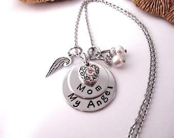 Mom Memorial Keychain, Mom Memorial Necklace, My Angel Mom, Mom Bereavement, Loss of Mom, Mom Loss, Loss of Mama, Loss of Mommy
