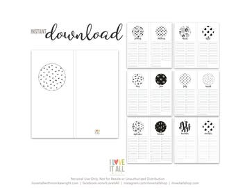 Printable 2018 Calendar, Minimalist Calendar, Black and White, Instant Download, Printable Calendar, Office Decor, Project Life Printable