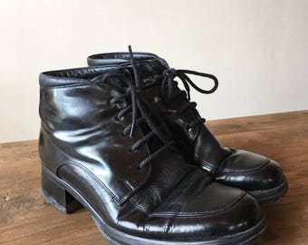 Vintage 90s Black Leather Ankle Boots, Granny Boots, Lace Up Boots, High Heel Boots, Women's Boots, Size 8