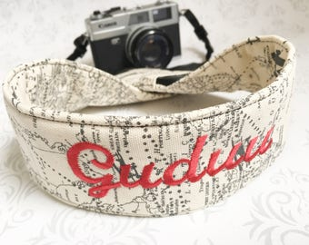 DSLR Camera Strap, 2 Lens Cap Pockets, Padded, Travel Photographer, Nikon or Canon Camera, Binoculars Strap, Photographer Gift - Maps