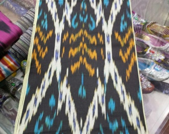 Uzbek traditional cotton woven ikat fabric by meter. Tribal, ethnic, boho fabric
