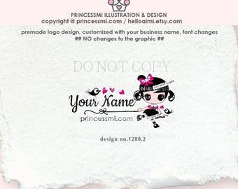 1280-2, Girl logo, doll logo, Custom logo, Premade Logo Design, sketch hand drawn cute girl doll big eyes logo business logo