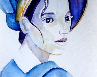 Original watercolor portrait of a girl from Jane Austen's time.