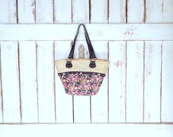 Tan/pink floral beaded woven straw market bag/rattan straw purse/straw shoulder bag