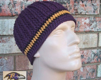 Beanie in Team Colors - Ravens - Purple/Black/Gold Colors - Unisex or Mens Size M/L - Hand Crocheted - Soft Warm Acrylic Yarn - Nice Gift