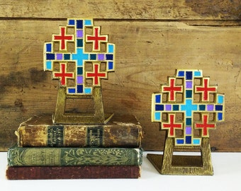Jerusalem Cross Bookends / Brass and Enamel Terra Sancta Guild, Israel 1969