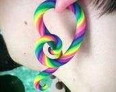 Rainbow Swirl Fake Plug Gauges Colorful Large Statement Earrings 12 Colors