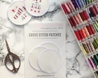 Stitchable Patches - cross stitch patches - DIY patch - 3 inch round patches - 3 PACK