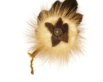 Mink flower brooch | blonde real fur with brown suede centre and velvet leaf c1950s-60s | vintage sweater pin leather
