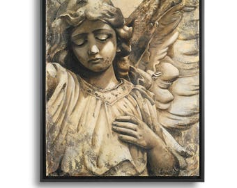 Angel Art Print, Angel Art Canvas, Guardian Angel Wall Canvas, Christmas Angel Decor, Spiritual Wall Decor, Guardian Angel Wall Art Print