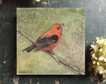 Bird Art Print with Optional Reclaimed Wood Frame, Nature Art, Bird Picture, Art with Birds, Scarlet Tanager Print, Bird Art work