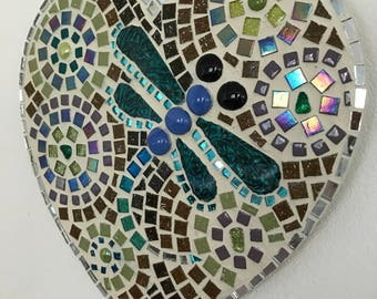 Dragonfly Turquoise Heart Mosaic