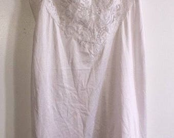 Vintage Women's Slip Made By Vanity Fair Size 36 White USA Lace