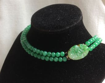 Stunning Vintage French Jade Green Peking Glass Bead Double-strand Necklace