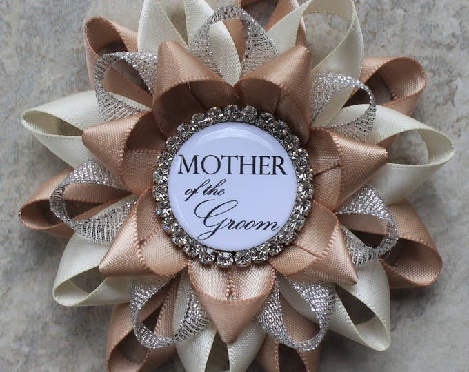 Bridal Shower Corsage Pin, Mother of the Groom Flower, Mother of the Bride Flower, Bridal Shower Decorations, Champagne, Ivory, Silver