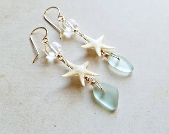 Tiny Starfish Earrings, Starfish Dangle Earrings, Aqua Sea Glass Drops, Real Starfish Jewelry