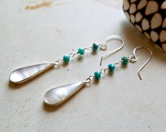 Turquoise Mother of Pearl Earrings, Long Sleeping Beauty Turquoise Dangle, Beachy Turquoise Drops:  Ready Made