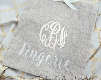 Linen Lingerie Bag for Travel Honeymoon Bride Bachelorette Party with Embroidered Monogram Personalized Mrs. New Last Name