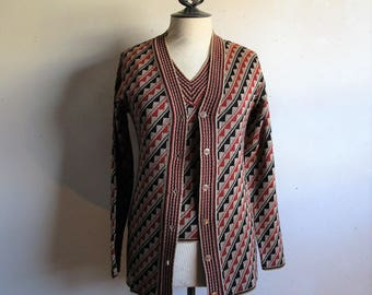 Vintage 70s Funky Knit Vest Sweater Set Russet Brown Zig-Zag Sleeveless 1970s Knitted Cardigan XS-Small