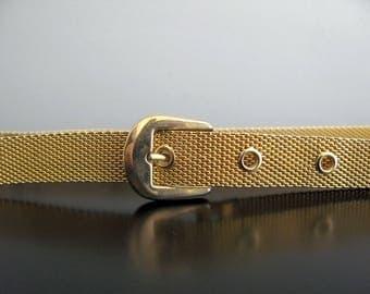"gold mesh belt - 80s vintage skinny belt buckle metal metallic 1980s adjustable disco retro shiny party evening small medium 27"" to 31"""