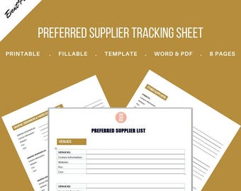 Vendor List / Preferred Supplier Tracking Sheet for Event and Wedding Planners. Printable Template., MS Word and PDF Versions included.
