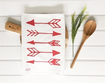 Tea Towel - Valentines Day tea towel Red Arrows Flour Sack Screen Printed Cotton Dish Cloth Kitchen Home Decor Arrow Tea Towel