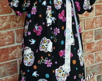 Sugar Skull Day of the Dead Halloween  Peasant Dress