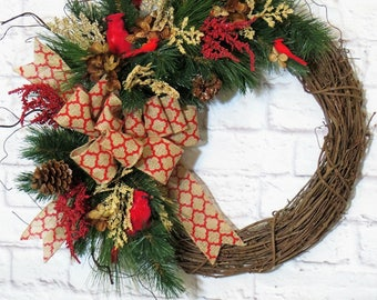 Winter Wreath,  Cardinal Wreath, Christmas Wreath, Holiday Wreath,  Rustic Wreath, Holiday Decor