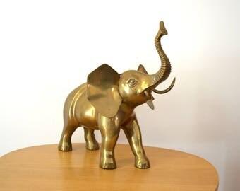 Vintage Large Brass Elephant