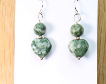 Moss Agate Green Round Gemstone Earrings with .925 Sterling Silver Wire hooks