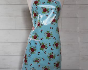 Womens Waterproof Apron Vintage Apron in Light Blue with Small Roses