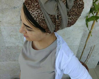 New hair wrap, Chic suede leatherette Head scarf, brown leopard print, long rectangular headscarf,