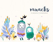 Watercolor Monsters Clipart/ Cute Monsters/ Kawaii Clipart/ Flower/ Grumpy Cute/ Ugly Cute/ Cute Party/ Baby Shower