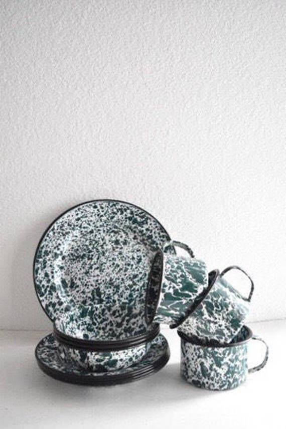 vintage speckled green enamel dinnerware plate bowl cup set