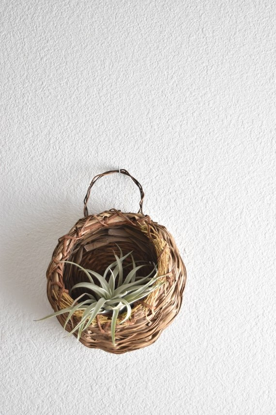 vintage woven rattan wall hanging basket with pocket planter / airplant holder