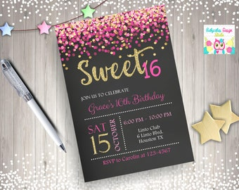 Sweet 16 Invitation pink and gold sweet 16 birthday invitation sweet sixteen birthday party confetti pink gold - digital DIY printable