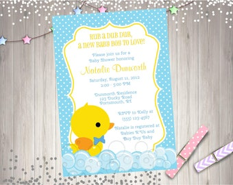 Rubber Ducky Baby Shower Invitation Invite Yellow Duck Baby Sprinkle Boy Baby Shower