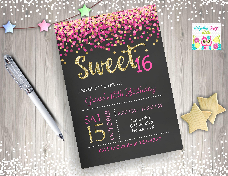 Sweet 16 Invitation pink and gold sweet 16 birthday invitation