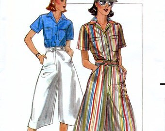 Butterick 5326 Vintage 70s Sewing Pattern for Misses' Shirt and Culottes - Uncut - Sizes 14 or 16
