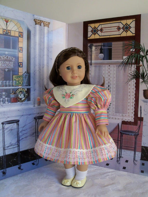 """18"""" Size/ BIG SISTER  Embroidered  Dress Fits  American Girl Samantha or Other 18"""" Dolls"""