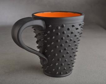 Spiky Coffee Mug Ready To Ship Black and Orange Dangerously Spiky Coffee Mug by Symmetrical Pottery o1