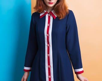 Mod red white blue dress A line shift dress 60s patriotic dress