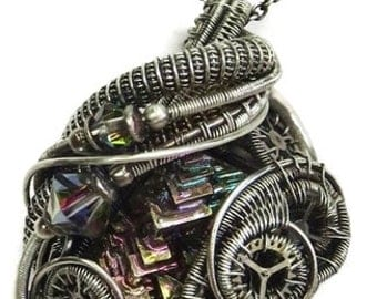 Steampunk Bismuth Crystal Wire-Wrapped Pendant in Antiqued Sterling Silver with Swarovski Crystal