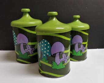 Vintage metal kitchen canisters canister set of 3 mushrooms butterflies 1970's