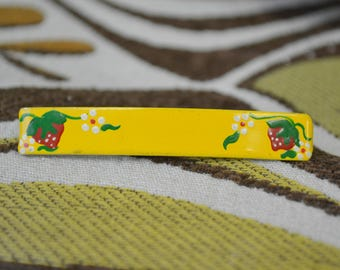 1980s Hand Painted Strawberry Hair Barrette