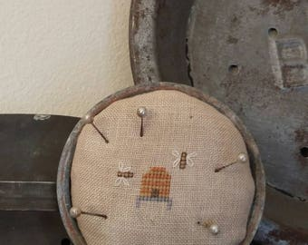 primitive cross stitch BEE SKEP and Little BEES zinc jar lid pin cushion