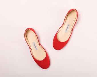 Red Nubuck Ballet Flats | Red Soft Leather Shoes | Summer Shoes | Persian Red ... Made to Order