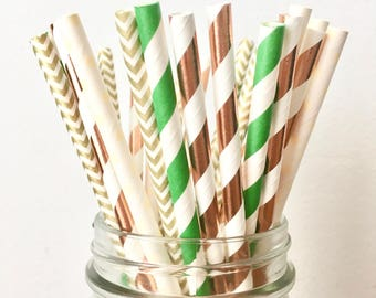 Eucalyptus Green, Rose Gold, Copper and Cream Paper Straws - Rustic Green and Copper Wedding Decor, Baby Shower, Bridal Shower, Bachelorette