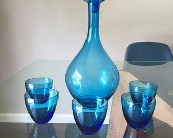 Vintage Blue Holmegaard Decanter Set Scandinavian Glass